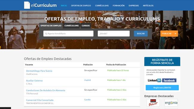 Búsqueda de empleo y de trabajadores en el portal elcurriculum.com